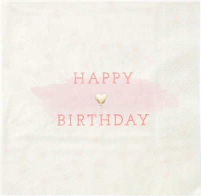 TALKING TABLES We Love Pink Happy Birthday paper napkins