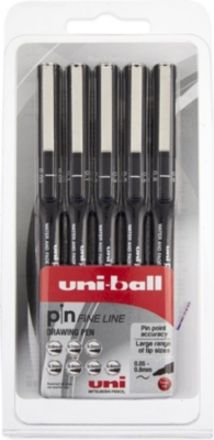 MITSUBISHI PENCIL CO Uni-Ball Pin fine line drawing pens Five pack