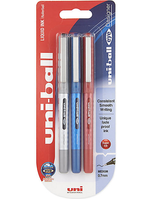 MITSUBISHI PENCIL CO: Eye UB-157D Designer rollerball pens 3 Pack