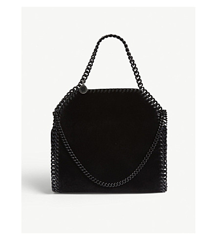 7c532b23ac STELLA MCCARTNEY Falabella mini velvet tote bag (Black