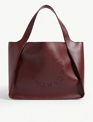 STELLA MCCARTNEY Perforated-logo small vegan-leather tote bag