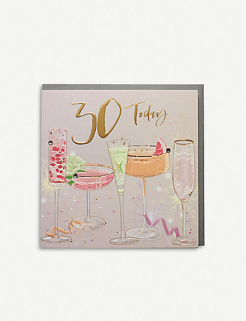 BELLY BUTTON DESIGNS: 30 Today birthday greetings card 16.5cm x 16.5cm