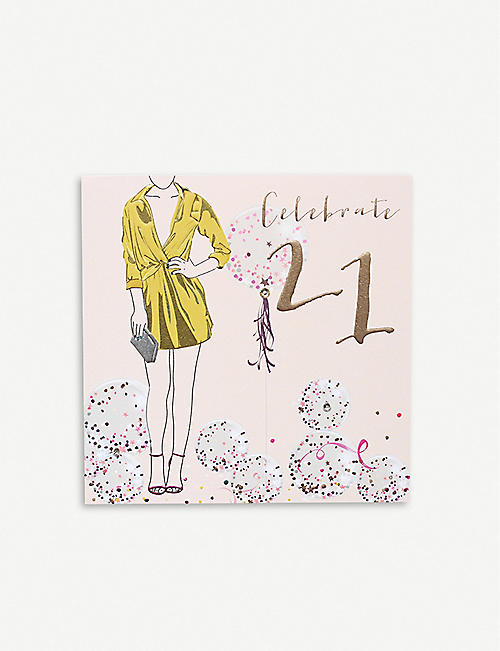 BELLY BUTTON DESIGNS Celebrate 21 birthday greetings card 16.5cm x 16.5cm