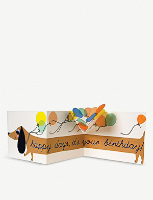 MERI MERI Sausage Dog birthday card 12.7cm x 17.8cm