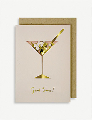 MERI MERI Cocktail Confetti Shaker birthday greetings card 17.8cm x 12.7cm