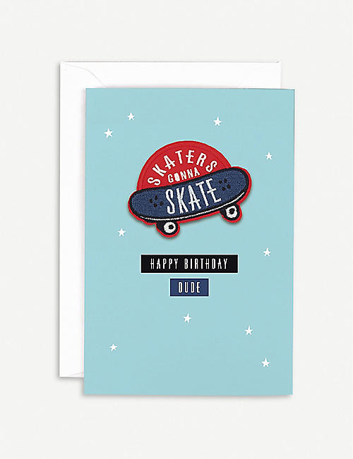 HOTCH POTCH Skateboard patch birthday card 18 x 15.6cm