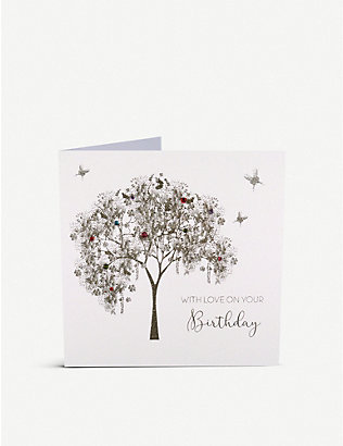 FIVE DOLLAR SHAKE: With Love on Your Birthday embellished tree greetings card 16cm x 16cm