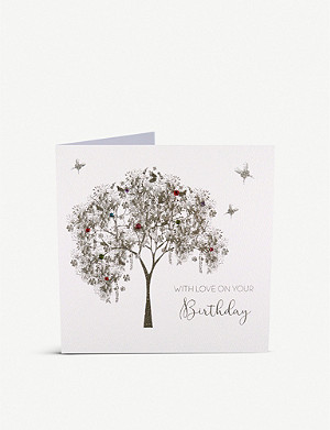FIVE DOLLAR SHAKE With Love on Your Birthday embellished tree greetings card 16cm x 16cm