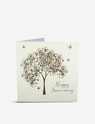 FIVE DOLLAR SHAKE: Happy Anniversary embellished greetings card 18cm x 16cm
