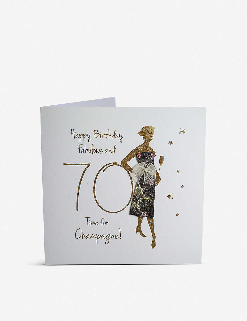 FIVE DOLLAR SHAKE: Fabulous at 70, time for champagne greetings card 16cm x 16cm