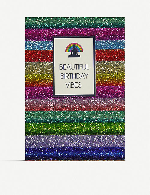 COUNTING STARS Beautiful Birthday Vibes glitter birthday greetings card 16cm x 11cm