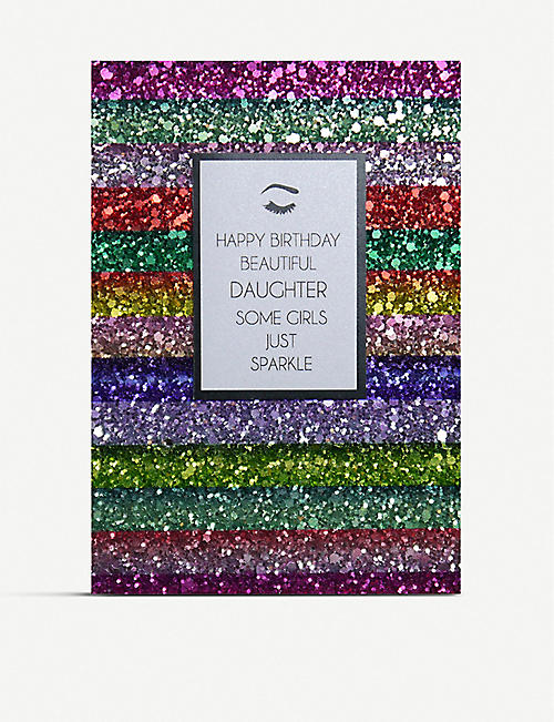 COUNTING STARS: Beautiful Daughter glitter birthday greetings card 16cm x 11cm