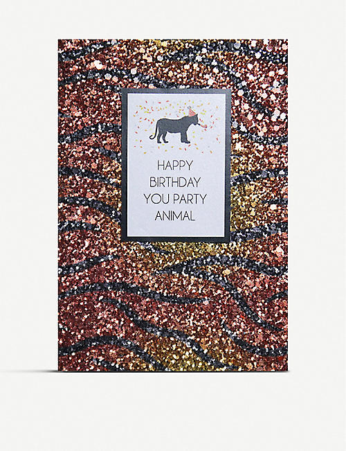 COUNTING STARS: Happy birthday you party animal greetings card 16cm x 11cm