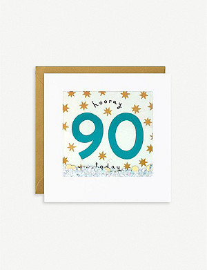 JAMES ELLIS Hooray 90 Today Shakies birthday greetings card 13cm x 13cm