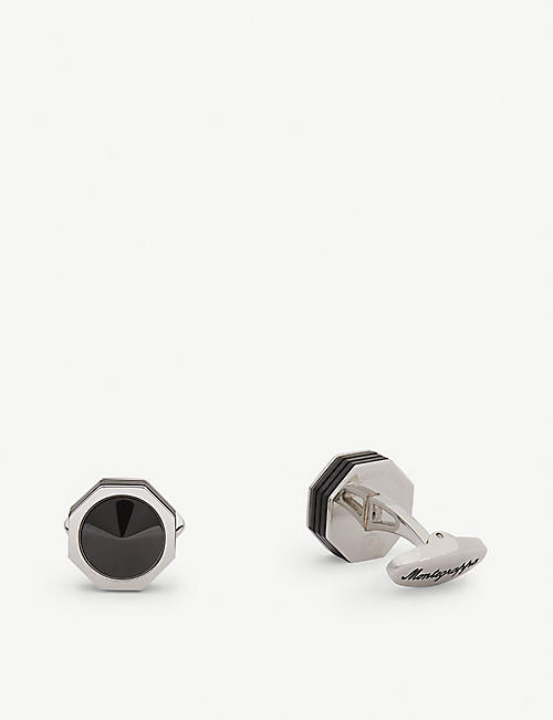 MONTEGRAPPA NeroUno Linea steel and onyx cufflinks