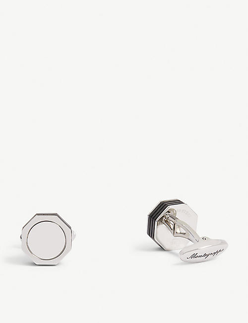 MONTEGRAPPA NeroUno Linea steel and metal cufflinks