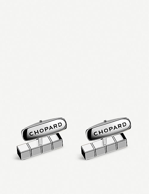 CHOPARD Ice Cube Pure palladium-plated stainless steel cufflinks