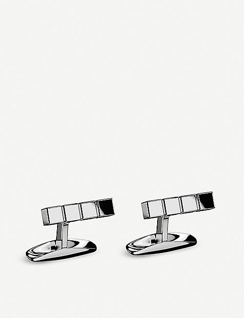CHOPARD: Ice Cube Pure palladium-plated stainless steel cufflinks