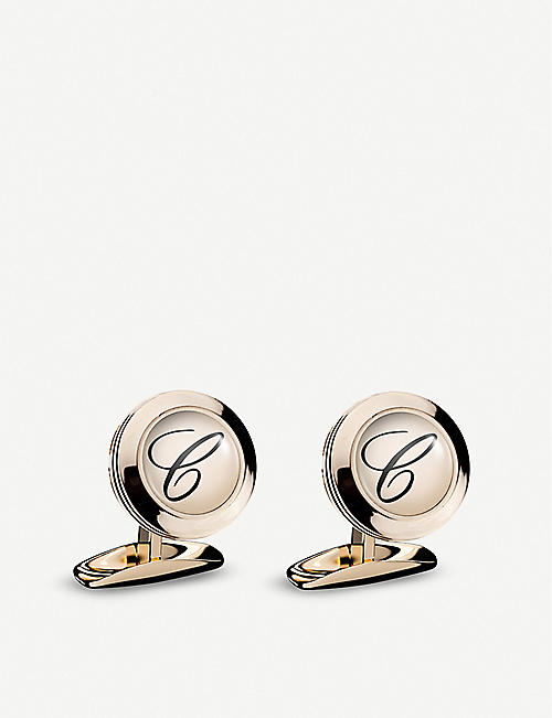 CHOPARD: Classic C rose-gold PVD and stainless steel cufflinks