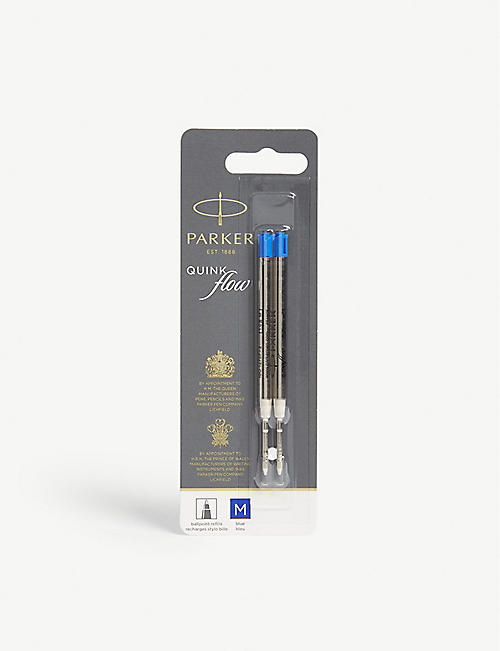 PARKER Quink Flow black ink ballpoint pen refills pack of two