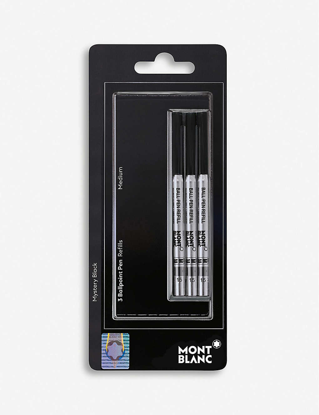 MONTBLANC: Set of three mystery black ballpoint refills