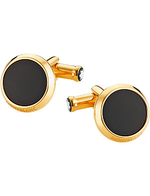 MONTBLANC Iconic onyx yellow-gold plated cufflinks