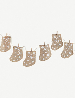GINGER RAY Hessian advent stockings 10.5cm
