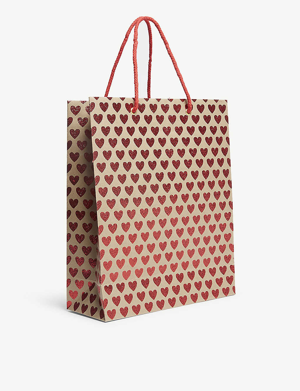VIVID WRAP: Mini hearts glitter print gift bag 31cm