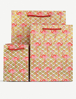 VIVID WRAP Flamingo-printed metallic gift bag 25cm x 30cm