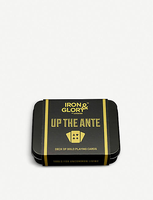 LUCKIES OF LONDON Iron & Glory Up the Ante playing cards and presentation tin