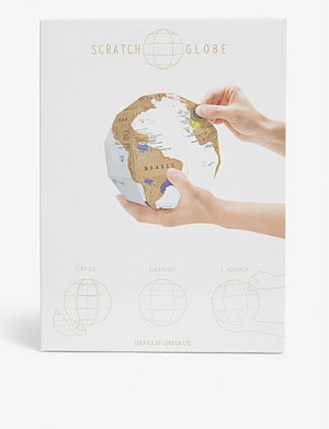 LUCKIES OF LONDON Scratch 3D globe map poster
