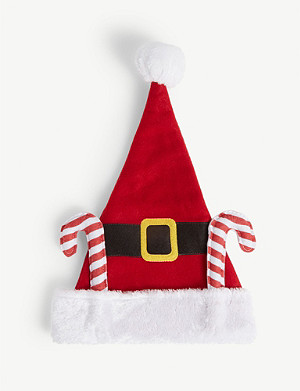 KURT ADLER Santa suit with candy canes Christmas hat