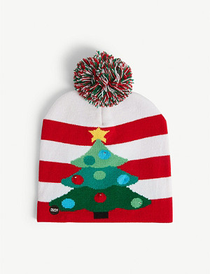 KURT ADLER Light-up Christmas tree striped bobble hat