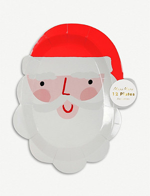 MERI MERI Santa Christmas plates pack of 12