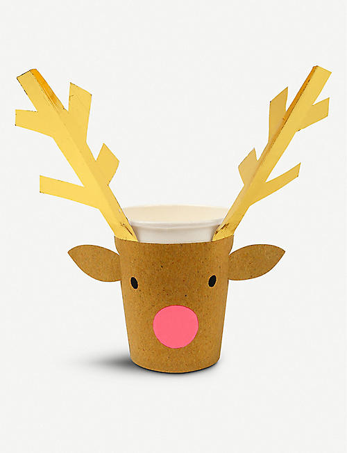 MERI MERI Reindeer Christmas cups pack of 8