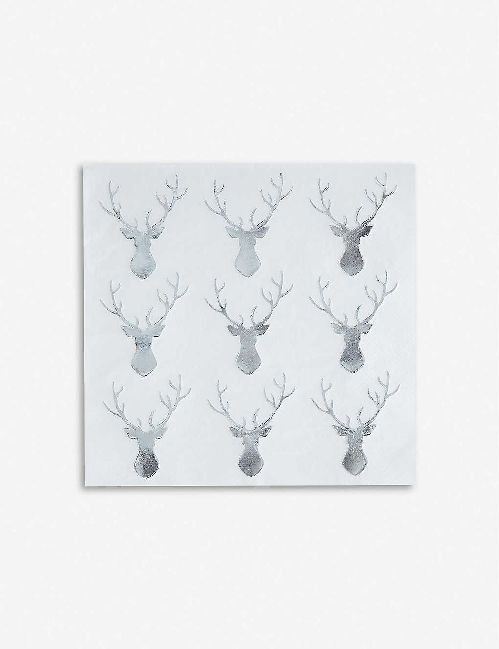 GINGER RAY: Silver foiled Stag Paper Cocktail Napkins