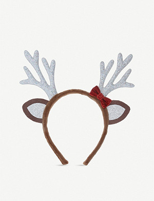GISELA GRAHAM Glittered reindeer hairband 18cm