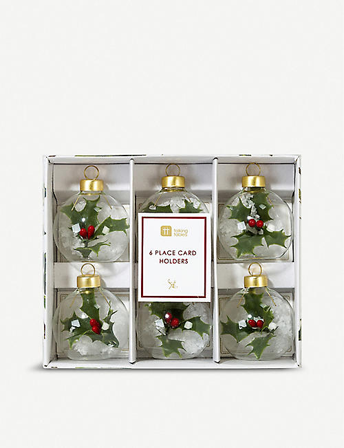 TALKING TABLES Botanical holly bauble placecard holder pack of six