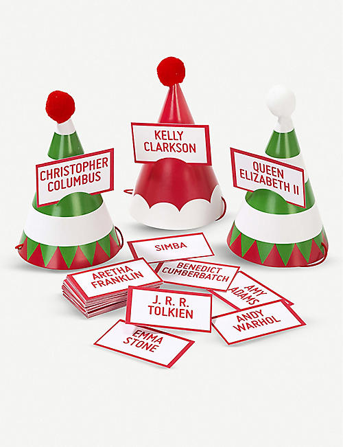 TALKING TABLES Christmas name game party hats