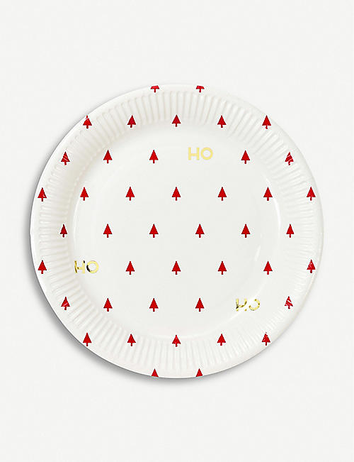 TALKING TABLES Ho Ho Ho paper plates set of eight