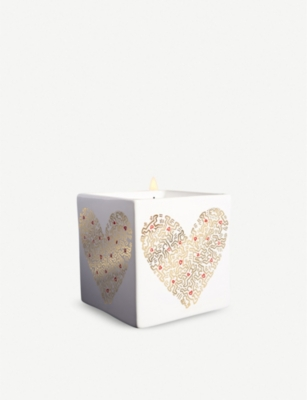 LIGNE BLANCHE Gold Pattern Heart porcelain scented candle 260g