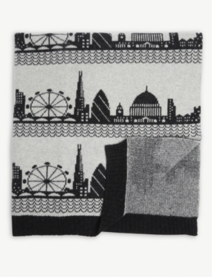 SALLY NENCINI London skyline lambswool blanket 78cm x 56cm