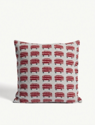 SALLY NENCINI London bus lambswool cushion 45x45cm
