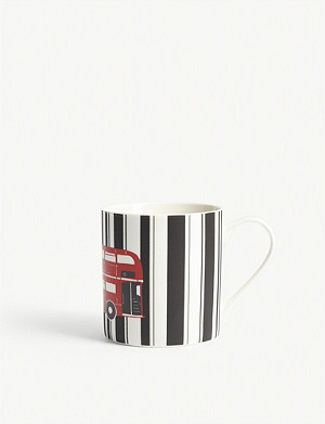 RED BUS Printed bone china mug