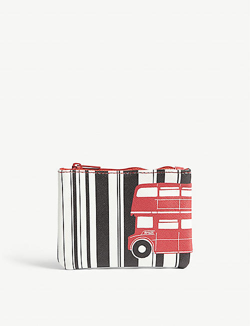 RED BUS Printed zipped coin purse