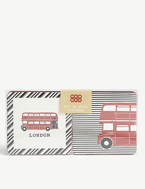 RED BUS Printed coasters set of four
