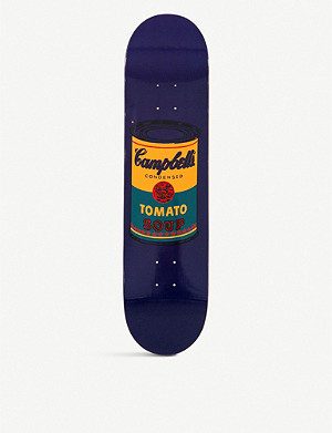 THE SKATEROOM Andy Warhol teal Campbell's Soup skateboard