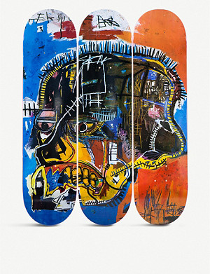 THE SKATEROOM Jean-Michel Basquiat skull-print skateboards set of three