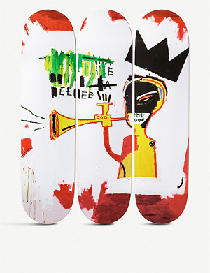 THE SKATEROOM Jean-Michel Basquiat trumpet-print skateboards set of three