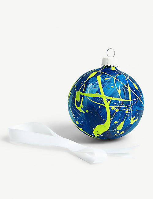 EAT PRAY PEDAL Hand-painted ceramic bauble 8.5cm